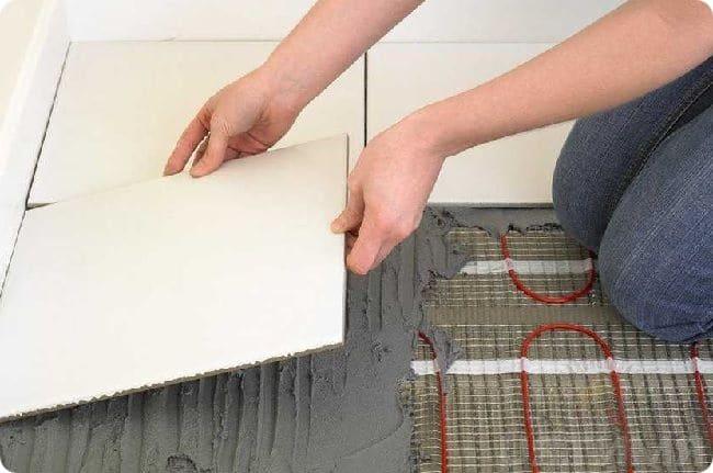 Монтаж электрического тёплого пола в матах. укладка плитки.