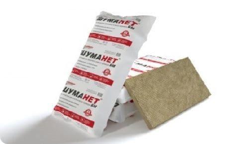 Шумоизоляционные плиты или рулоны на основе базальтовой ваты или штапельного стекловолокна Шуманет.