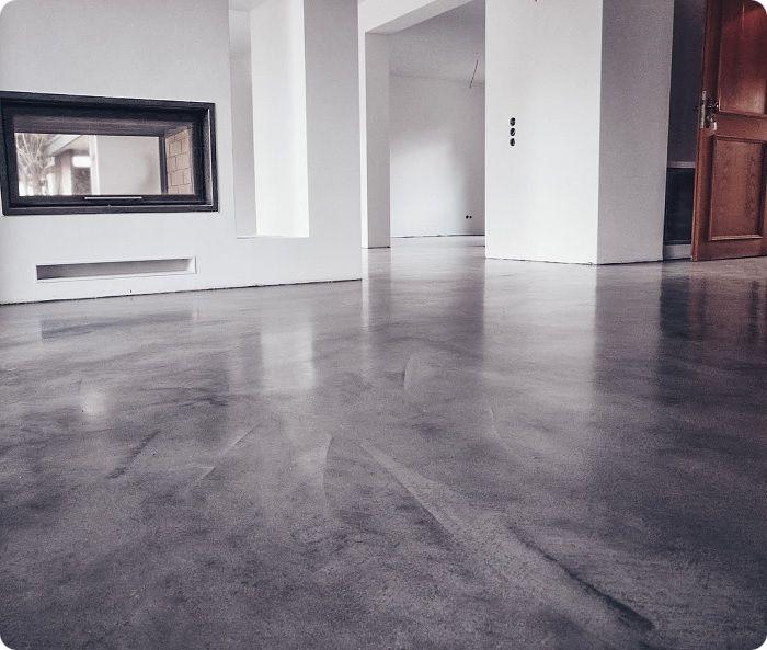 Отшлифованная бетонная поверхность в интерьере.