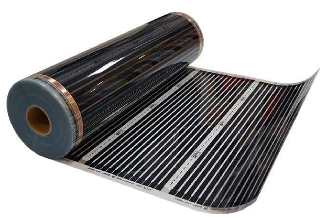 Инфракрасный тёплый пол состоит из базового слоя, проводящих ток полос (медь и серебро), углеродного излучателя и ламинирующей плёнки. Под воздействием электричества карбоновая паста достигает плотного тела и выделяет лучи, которые начинают его нагревать.