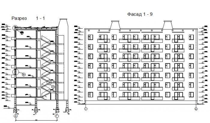 Разрез многоэтажного жилого здания.
