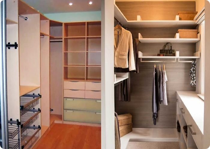 Если в кладовке нет окон, большую площадь стен отводят под стеллажи и полки для тяжёлых вещей. В случае, когда в кладовке присутствует окно, можно разместить под ним полки для хранения обуви и сумок, а на подоконнике организовать рабочее пространство для глажки.