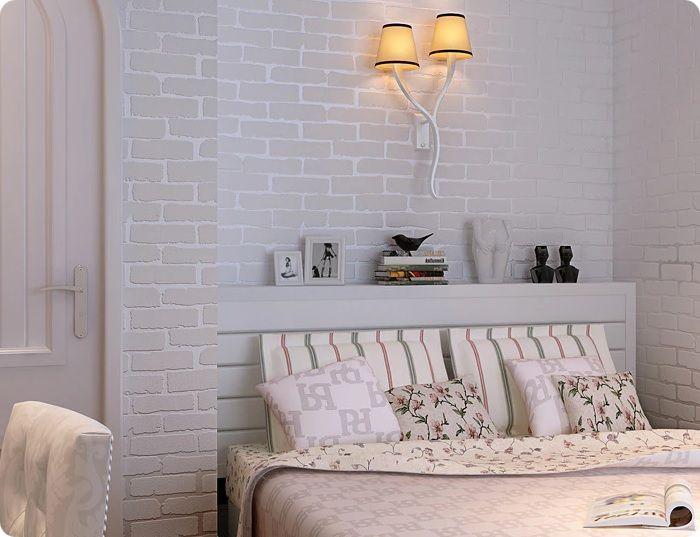 Для оформления комнаты, где спят дети, рекомендуется также использовать кирпичную кладку светлой цветовой гаммы. Большинство дизайнеров отдают предпочтение белому.