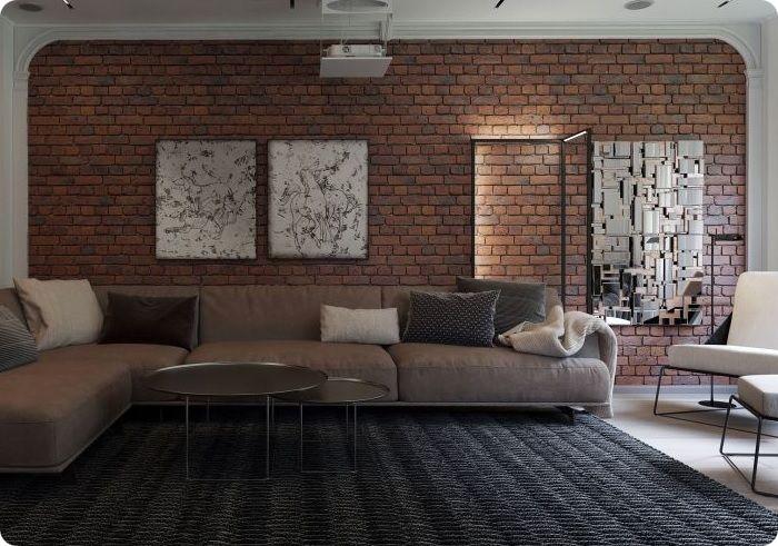 Кирпич в гостиной — отличная идея для помещений любой площади. Даже в небольшой комнате кирпичная стена будет выглядеть органично, подчёркивая его стиль и убранство.