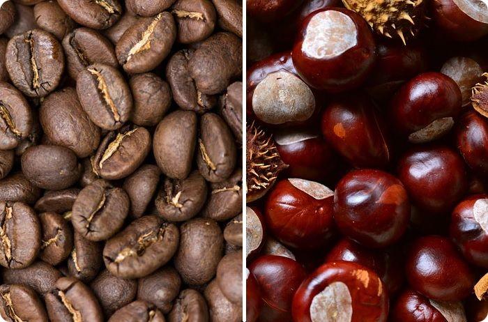 В природных условиях коричневый цвет возникает при застывании жидких сред, окрашенных в жёлтый. Поэтому его иногда сравнивают с тёмно-жёлтой палитрой. Схожесть со смешанными тонами, к примеру мотивами каштана, кофе, бронзы, объяснить просто — во всех перечисленных гаммах присутствует множество пигментов в составе.