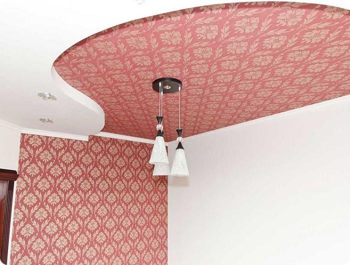 Двухуровневый тканевый натяжной потолок.