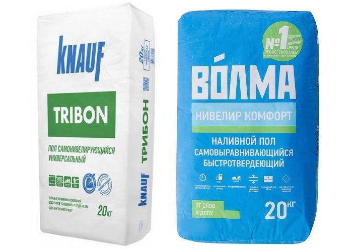 Упаковки наливных смесей Knauf Tribon и Волма Нивелир Комфорт.