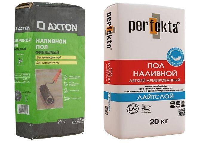 Упаковки наливных полов Perfecta и Axton.