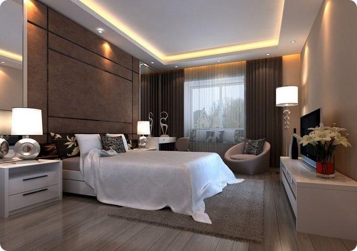 Расположение светильников в спальне.