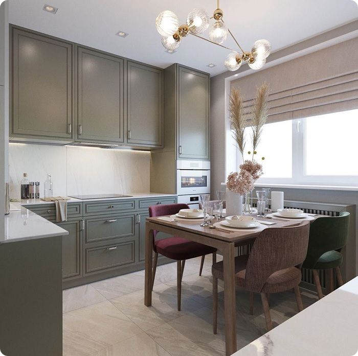 Квадратная кухня по форме идеальна. При такой планировке можно реализовать все варианты угловых кухонь, оптимально расставить мебель и бытовую технику, оставив достаточно свободного пространства.
