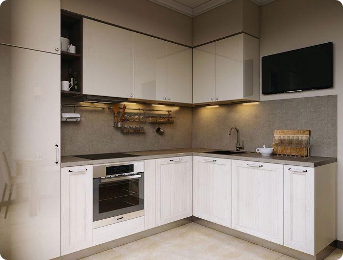 Для прямоугольной кухни предусмотрен всего один Г-образный вариант.