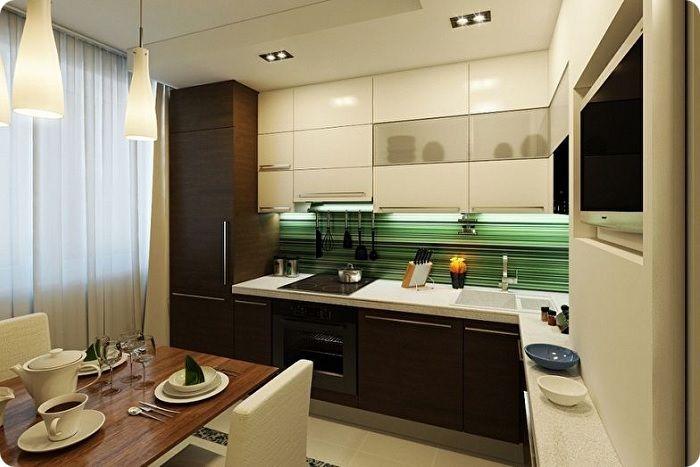 Стандартный дизайн квадратной кухни 10 кв. м.