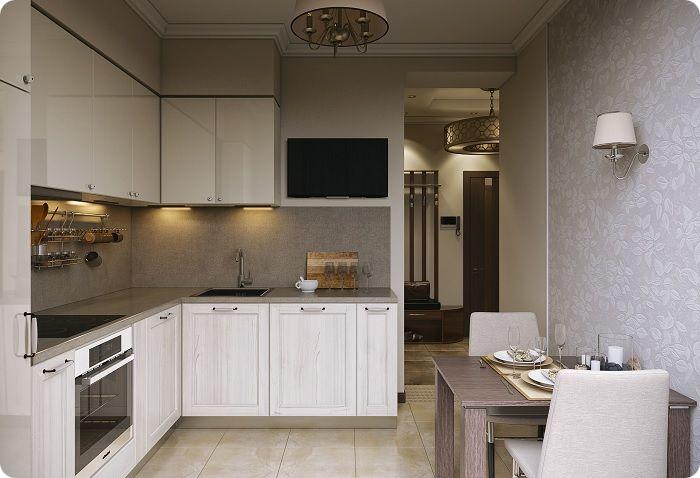Прямоугольная кухня 9 м².