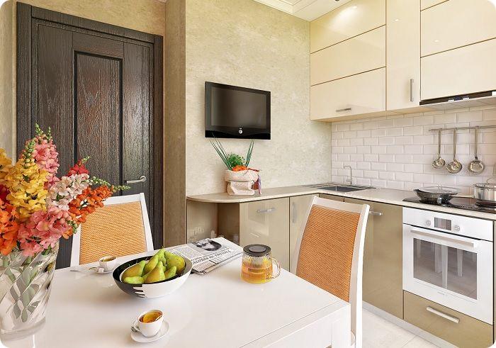 Для обеденной зоны в вытянутой кухне рекомендован прямоугольный стол, приставленный к стене, для квадратной — круглый.