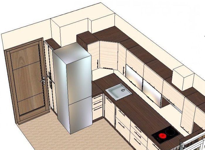 Холодильник — самый масштабный предмет бытовой техники на компактной кухне. От его типа и расположения зависит дизайн-проект кухонного пространства.
