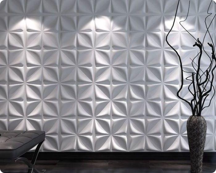 плитка. Выпускается в форме прямоугольника или квадрата разных размеров, цветов и фактуры. Используется для отделки всей площади стены или отдельной её части, при этом прямоугольная форма из-за строгости очертаний отлично сочетается с другими отделочными материалами. Плитки визуально выравнивают рабочие поверхности, придавая им аккуратный вид.