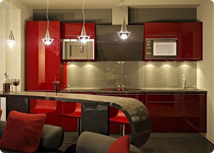 Кухня, совмещённая с гостиной барной стойкой.