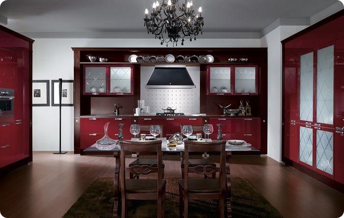 Гармоничная комбинация красного с тёплыми оттенками и интересными акцентами помогут сделать кухню привлекательнее, уютнее, комфортнее для восприятия.
