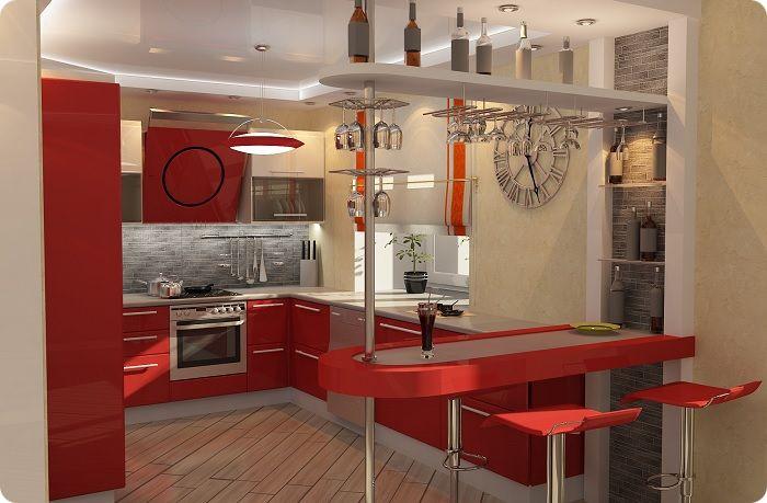 Барная стойка на небольшой кухне.