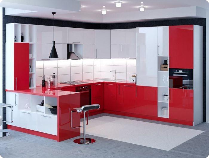 В условиях большой кухни можно выполнить зонирование сочетанием разных обоев, отделив обеденное пространство от территории приготовления пищи либо барной стойки.