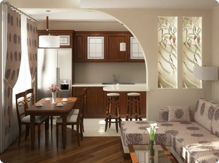 Зонирование кухни-гостиной, гипсокартонная перегородка.