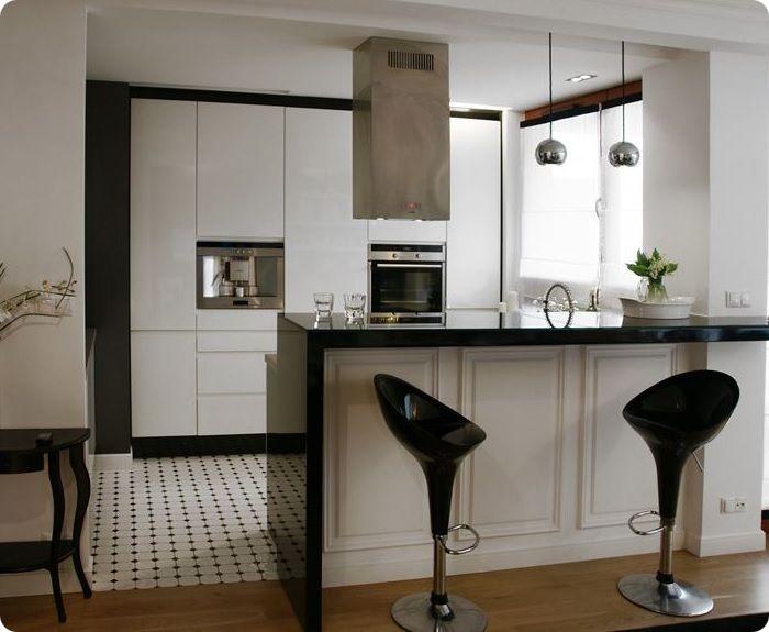 Зонирование мебелью на кухне-гостиной.