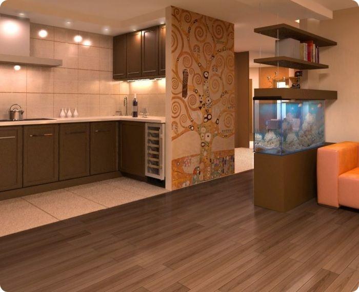 Зонирование на кухне, совмещённой с гостиной.