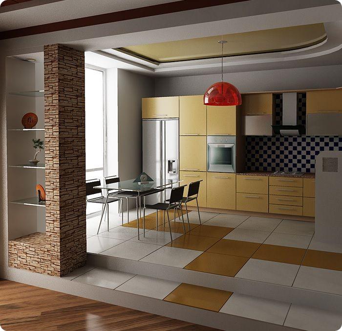 Многоуровневый пол на кухне-гостиной.