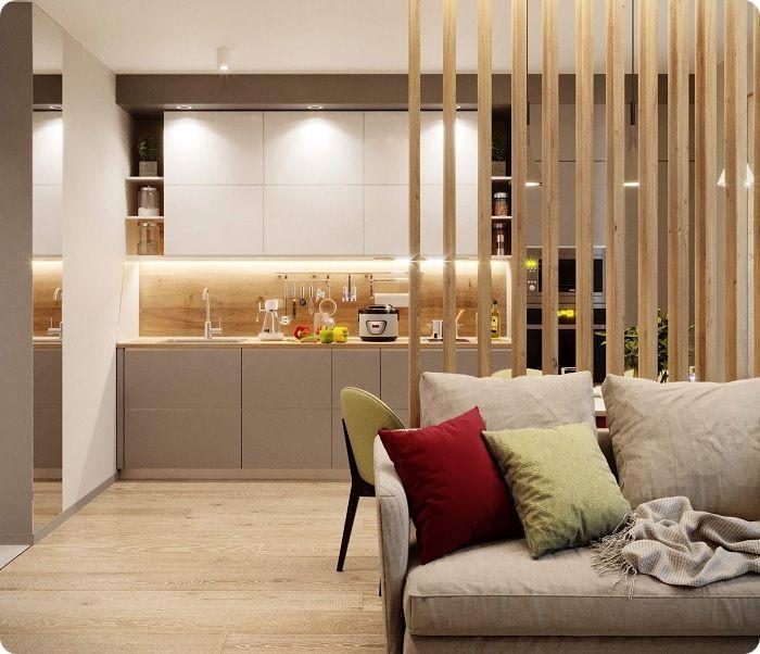 Деревянная перегородка, зонирование кухни-гостиной.