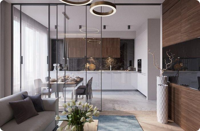 Зонирование кухни-гостиной, стеклянная перегородка.