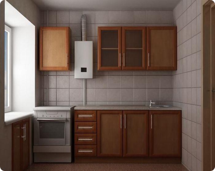 Газовая колонка занимает на кухне дополнительное пространство. При её наличии нужно тщательно распланировать каждый сантиметр, так как полезная площадь помещения уменьшается. Безопасное расстояние между холодильником и колонкой составляет 40 см.