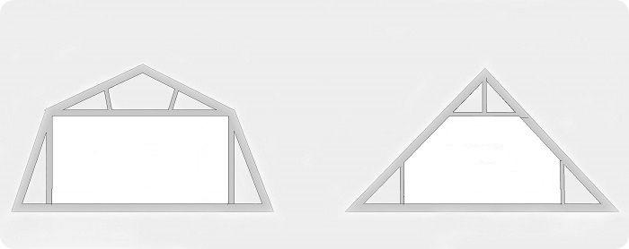 Мансардная ломаная крыша, мансардная двускатная крыша.