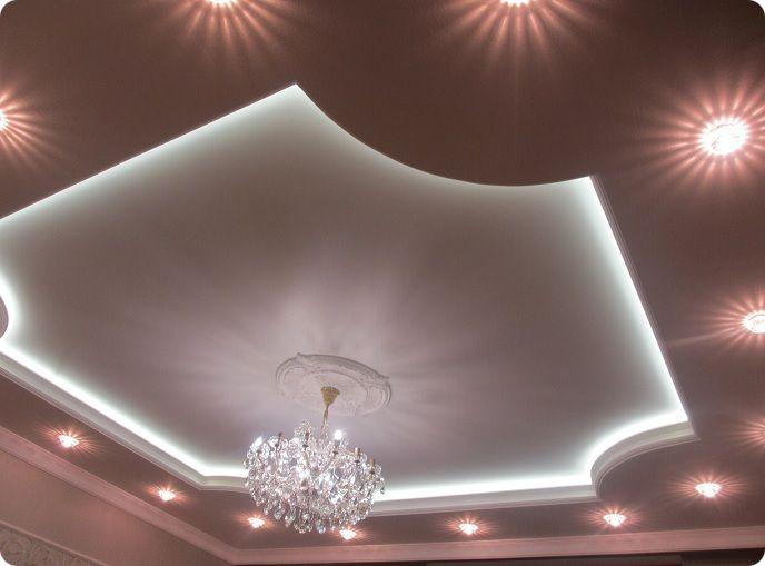 Двухуровневые текстильные натяжные потолки.
