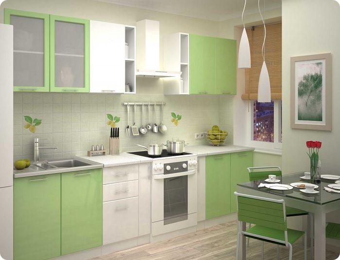 Светло-зелёная кухня.