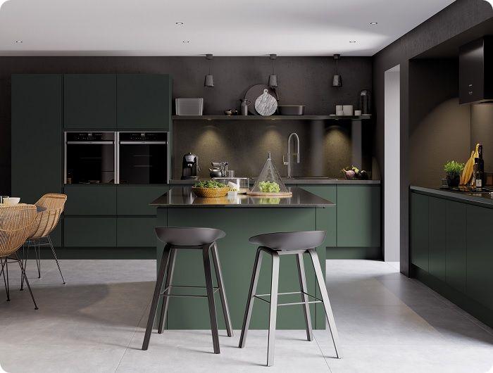 Тёмно-зелёная кухня.