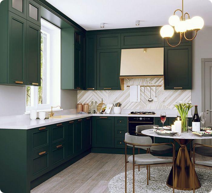 Кухня в зелёных тонах.