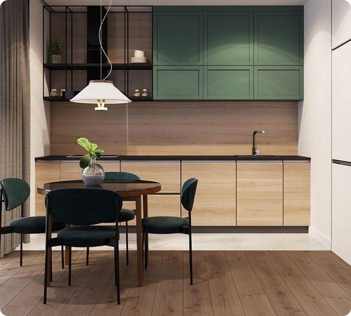 Комбинация зелёного с коричневым. Такое сочетание не бывает скучным и не надоедает. Коричневым могут быть оформлены фасады мебели либо напольное покрытие. Тёпло-зелёные краски лучше комбинируются с песочными либо шоколадными тонами коричневого.