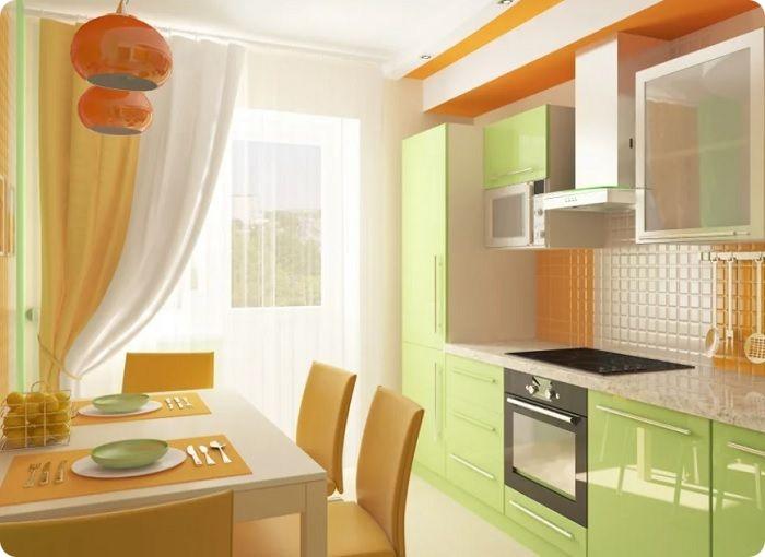 Оранжево-зелёная кухня — понравится людям с хорошим аппетитом. Визуально ассоциируется с мандаринами, смотрится нарядно, ярко.