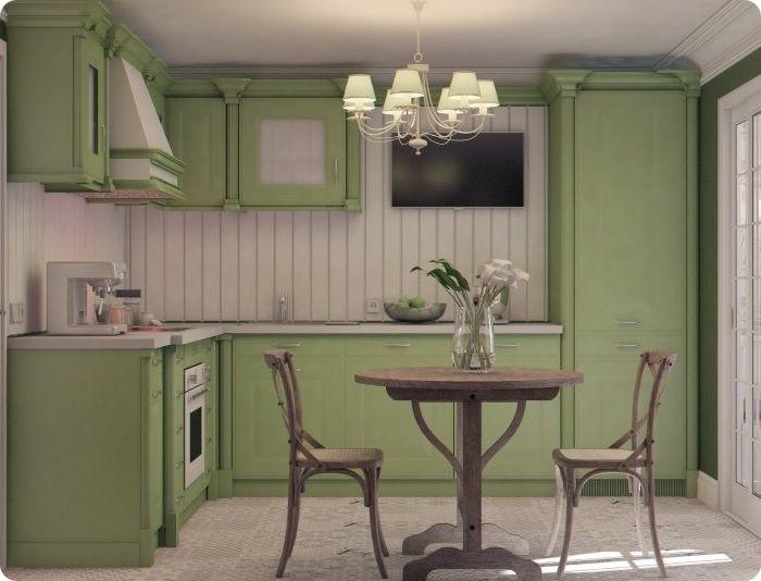 В стиле прованс используется мягкий салатовый. В классике редко встречается салатовая палитра. При этом стены, оформленные данным цветом, становятся эффектным фоном для светлого или тёмного кухонного гарнитура.