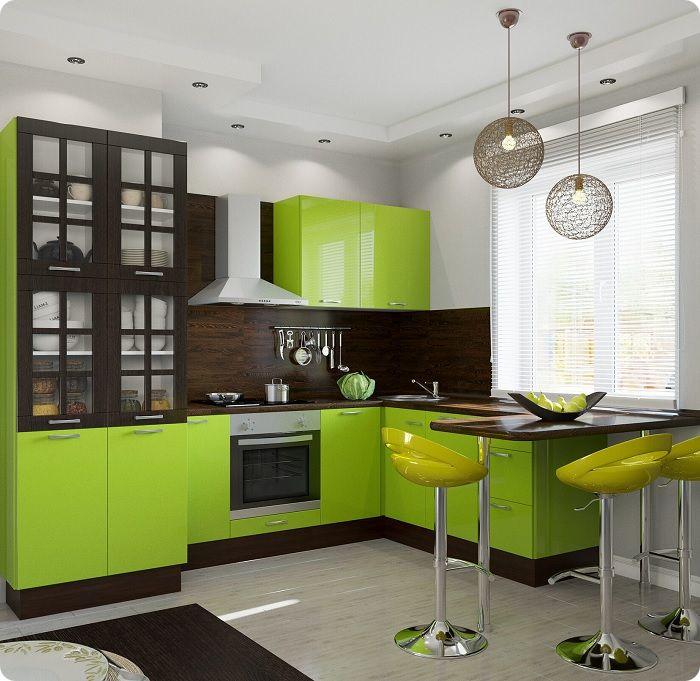 Кухня в салатовых красках ежедневно дарит ощущение весны, свежести, энергии.
