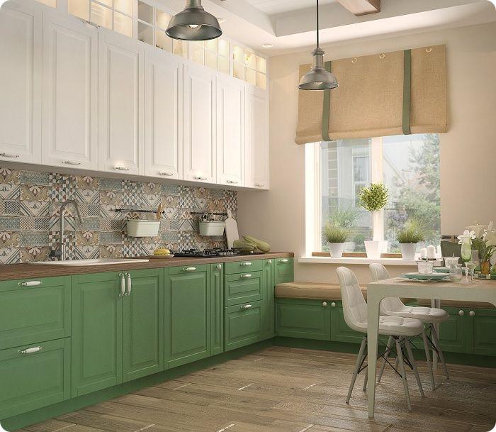 Интерьер кухни в зелёных тонах успешно гармонирует с горшечными растениями, которые идеально вписываются в помещение.