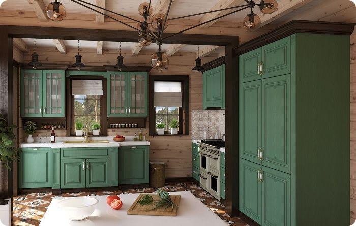 Кухня в тёмно-зелёных тонах превосходно выглядит в светлой комнате, где превалирует обилие солнечного света. Но в маленьких пространствах тёмный в избытке цвет использовать нежелательно — он ещё больше визуально уменьшит помещение, одновременно придав ему ощущение мрачности. Большая концентрация тёмно-оливкового цвета негативно отражается на настроении.