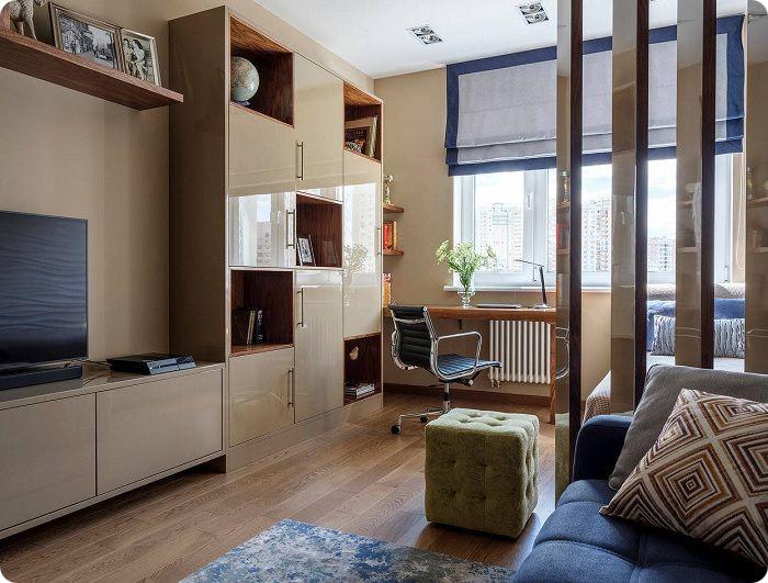 Гостиная, совмещённая со спальней.
