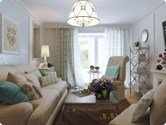 Уютная гостиная в стиле прованс.