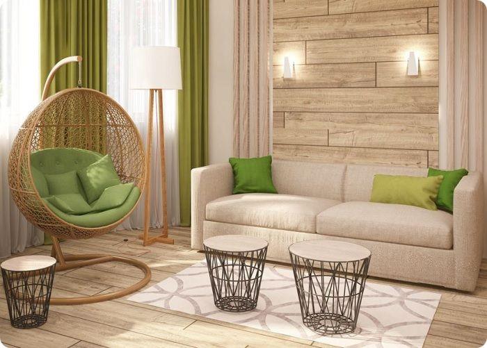 Натуральные материалы и цвета - отличительная черта экостиля.