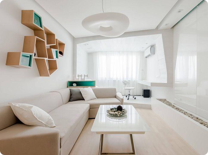 Бескаркасная мебель в гостиной в стиле минимализм.