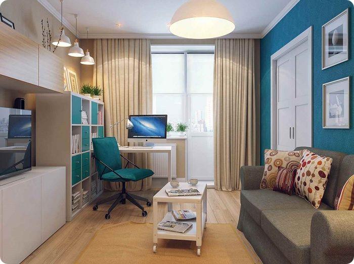 Декоративные подушки в гостиной 15 кв. м.