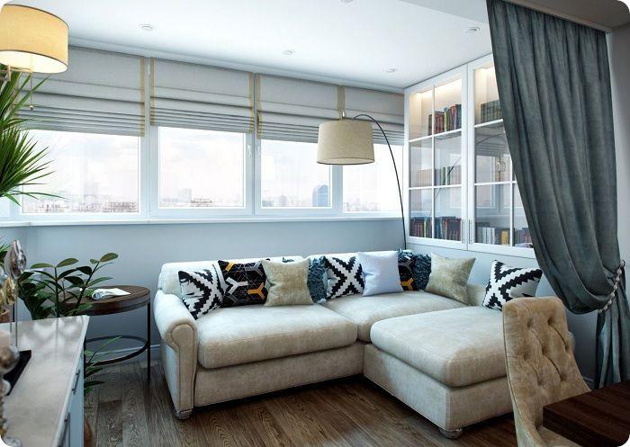 Уютная и комфортная мебель в гостиной, совмещённой с балконом.