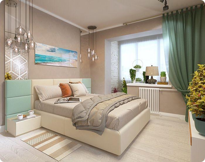 Спальня, объединённая с балконом.