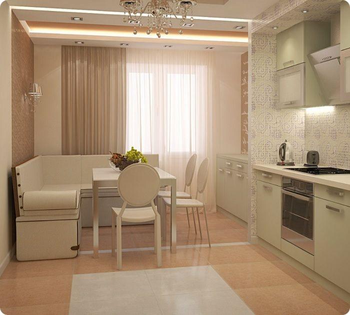 Кухня-гостиная, совмещённая с балконом, обеденная зона.